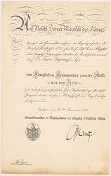 Preußen - Königlicher Kronenorden 2. Klasse mit dem Stern - Verleihungsurkunde
