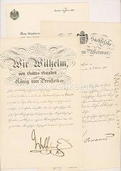 Deutsches Reich - Dokumentengruppe für einen Professor mit verliehenen Kreuz und Stern der Comthur des Königlichen Hausordens von Hohenzollern