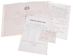 Hamburger Bürger-Militair 1855-1868 - Dokumentengruppe für einen späteren Hauptmann und Chef der 5. Compagnie des 6. Bataillons