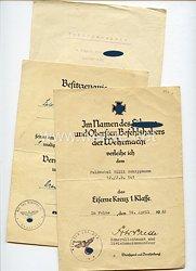 Heer - Urkundentrio für einen Feldwebel und späteren Leutnant der 12.(M.G.)/Inf.-Rgt.501