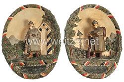 """Deutsches Reich 1871 - 1918 1. Weltkrieg - Paar Patriotische Wandteller """"Wachsoldat"""" und """"Kamerad"""""""