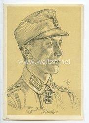 Heer - Willrich farbige Propaganda-Postkarte - Ritterkreuzträger Oberwachtmeister Schmölzer