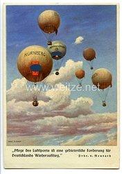 """III. Reich - farbige Propaganda-Postkarte - """" Pflege des Luftsports ist eine gebieterische Forderung für Deutschlands Wiederaufstieg """""""
