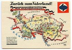 """III. Reich - farbige Propaganda-Postkarte - """" Zurück zum Vaterland ! 1935 Volksabstimmung Deutsch ist die Saar """""""