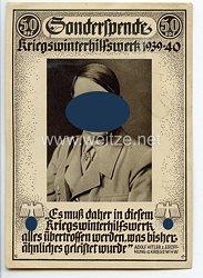 """III. Reich - Propaganda-Postkarte - """" Adolf Hitler - Sonderspende Kriegswinterhilfswerk 1939/40 """""""