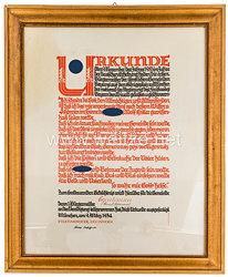III. Reich - große Urkunde zur Vereidigung aller ersten Bürgermeister der sämtlichen Gemeinden Bayerns am 9. November 1933