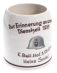 """Wehrmacht Heer - Erinnerungskrug """" Zur Erinnerung an unsere Dienstzeit 1935 - E.Batl.Hof. 3.M.G.K. Heinz Seidel """""""