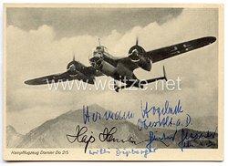 Luftwaffe - Nachkriegsunterschriften auf originaler Postkarte von den Ritterkreuzträgern Hajo Herrmann, Hermann Hogeback, Günter Glasner und Willi Dipberger