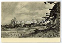 """SS - Propaganda-Postkarte - """" Ausstellung  Deutsche Künstler und die SS - Richard Weckbrod, Russisches Dorf """""""