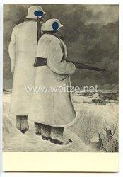 """SS - Propaganda-Postkarte - """" Ausstellung  Deutsche Künstler und die SS - Gebhardt Westernbuchberg, F.S., Doppelposten der Waffen-SS """""""