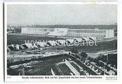 """III. Reich - Propaganda-Postkarte - """" Reichsparteitag Nürnberg 1936 - Neueste Luftaufnahme. Blick auf das Zeppelinfeld mit den neuen Tribünenbauten """""""