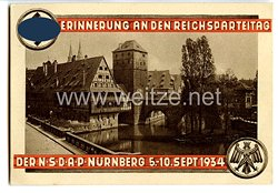 "III. Reich - farbige Propaganda-Postkarte - "" Erinnerung an den Reichsparteitag der NSDAP Nürnberg 5.-10.Sept.1934 - Henkersteg """