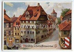 """III. Reich - farbige Propaganda-Postkarte - """" Nürnberg - die Stadt der Reichsparteitage - Albrecht-Dürer-Haus """""""