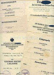 Heer - Urkundengruppe für einen späteren Obergefreiten der 2./Panzer-Nachr.-Abt.27