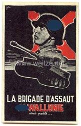 "Waffen-SS - farbige Propaganda-Postkarte - "" La Brigade D'Assaut SS - Wallonie vous parle... """