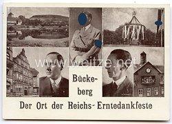 """III. Reich - Propaganda-Postkarte - """" Adolf Hitler, Walter Darrè, Dr. Goebbels - Bückeburg - Der Ort der Reichs-Erntedankfeste """""""