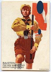 "HJ - farbige Propaganda-Postkarte - "" Baustein für den Kampffond der Hitler-Jugend "" ( 1933 )"