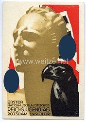 "HJ - farbige Propaganda-Postkarte - "" Erster Nationalsozialistischer Reichsjugendtag Potsdam 1. u. 2. Oktbr. ( 1932 ) """