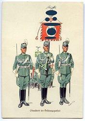 """III. Reich - farbige Propaganda-Postkarte - """" Standarte der Ordnungspolizei ( Deutschland erwache ) """""""