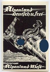 "NSKK - Propaganda-Postkarte - "" Alpenland deutsch u. frei - Untergruppe Alpenland West """