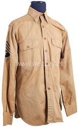 USA World War 2: US Army Khaki Service Shirt for a Technician 4th Grade US Army Pacific