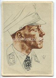 Luftwaffe - Willrich farbige Propaganda-Postkarte - Ritterkreuzträger Major Helmut Wick
