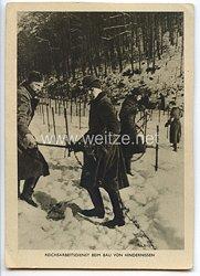 """III. Reich - Propaganda-Postkarte - """" Reichsarbeitsdienst beim Bau von Hindernissen """""""