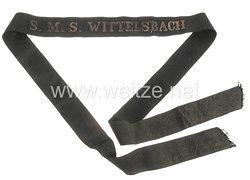 """Kaiserliche Marine Mützenband """"S.M.S. Wittelsbach"""" in Gold"""