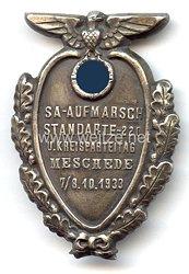 """III. Reich - Großes tragbares Abzeichen für die Ehrengäste zum """" SA-Aufmarsch Standarte 220 u. Kreisparteitag Meschede 7./8.10.1933 """""""