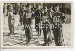 """SA - Propaganda-Postkarte - """" Der Kampf ist der Vater aller Dinge - Schiwettkämpfe der NS-Gliederungen 1938 in Schierke Mannschaft der Brigade 59 unter Führung von Brigadeführer Bischoff """""""