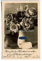 """III. Reich - frühe Propaganda-Postkarte mit Hakenkreuz - """" Herzliche Glückwünsche zum Geburtstage ! """""""