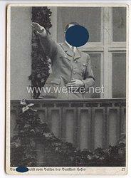 """III. Reich - Propaganda-Postkarte - """" Reichsparteitag Nürnberg 1936 - Der Führer grüßt vom Balkon des Deutschen Hofes """""""