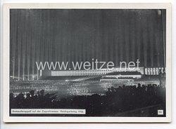 """III. Reich - Propaganda-Postkarte - """" Reichsparteitag Nürnberg 1936 - Amtswalterappell auf der Zeppelinwiese """""""
