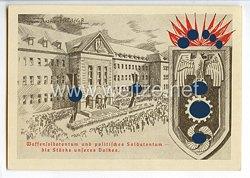 """III. Reich - farbige Propaganda-Postkarte - """" Waffensoldatentum und politisches Soldatentum - die Stärke unseres Volkes """""""