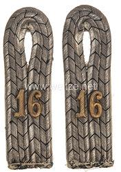 Preußen 1. Weltkrieg Paar Schulterstücke für einen Leutnant im Infanterie-Regiment Freiherr von Sparr (3. Westfälisches) Nr. 16