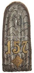 Preußen 1. Weltkrieg Einzel Schulterstück für einen Oberleutnant im 4. Schlesischen Infanterie-Regiment Nr. 157