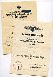 Luftwaffe - Urkundenpaar für einen Unteroffizier
