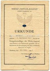HJ-Gebiet Hamburg (26) - Urkunde für einen Kriegsfreiwilligen der Hitler-Jugend des Jahrgangs 1928
