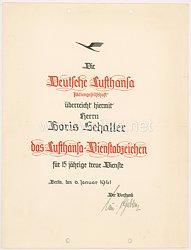 III. Reich - Deutsche Lufthansa - Verleihungsurkunde für das Lufthansa-Dienstabzeichen für 15 jährige treue Dienste