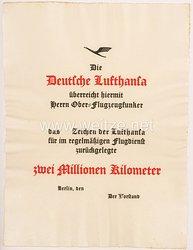 Deutsche Lufthansa - Verleihungsurkunde zum Abzeichen für zwei Millionen Kilometer