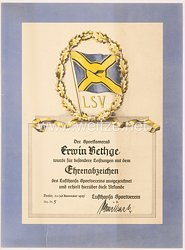 III. Reich - Lufthansa Sportverein e.V. - Verleihungsurkunde für das Ehrenabzeichen des Vereins Nr. 5