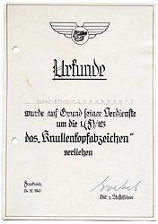 """Luftwaffe - Verleihungsurkunde für das """" Knullenkopfabzeichen """" der 1.(F)/Aufklärungsgruppe 123"""
