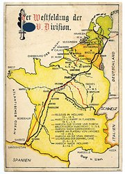 "Waffen-SS - farbige Propaganda-Postkarte - "" Der Westfeldzug der SS-V. Division """