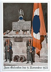 """SS - farbige Propaganda-Postkarte - """" Zum Gedenken des 9. November 1923 """""""