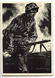 """SS - Propaganda-Postkarte - """" Männer der Waffen-SS - LMG-Schütze """""""