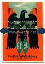 """III. Reich - farbige Propaganda-Postkarte - """" VII. Reichstagung der Auslandsdeutschen Graz Stadt der Volkserhebung 25. August bis 1. Sept. 1939 """""""