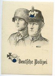 """III. Reich - Propaganda-Postkarte - """" Deutsche Polizei """""""