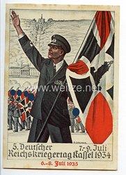 """III. Reich - farbige Propaganda-Postkarte - """" 5. Deutscher Reichskriegertag Kassel 7.-9. Juli 1935 / 6.-8. Juli 1935 """""""
