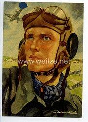 "III. Reich - farbige Propaganda-Postkarte - "" Der Jagdflieger """