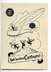 """Deutscher Luftsport-Verband ( DLV ) - Propaganda-Postkarte - """" Habe meine C geflogen ! """" (Segelflieger C-Abzeichen )"""